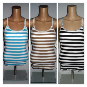 SO 3 Striped Stretch Racer Back Top With Shelf Bra